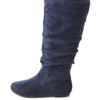 Slouchy Flat Knee-High Boots by Charlotte Russe - Navy