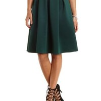 Pleated Full Midi Skirt by Charlotte Russe - Forest Green