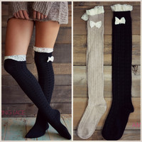 Bow My Darling Knee High Boot Socks