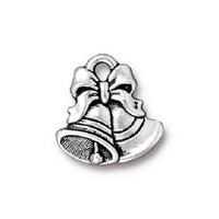 5 TierraCast Christmas Bells Charms - Silver Plated - 16 mm