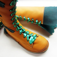 SIZE 7, D fitting, Tall Leather Bohemian Fairytale boots in Mustard and Teal, GATEKEEPER by Fairysteps