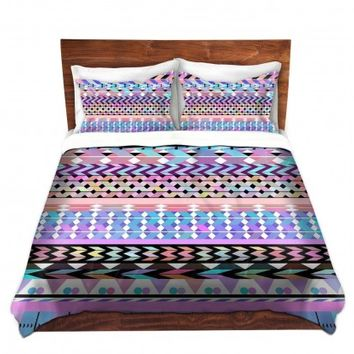 DiaNoche Designs Unique Decorative Designer Duvet Covers and Shams | Organic Saturation's Girly Colorful Aztec Pattern