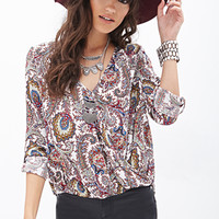 FOREVER 21 Paisley Print Surplice Top White/Multi