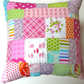 Shabby Chic Pillow / Chenille Pillow / Patchwork Pillow / Cottage Chic Pillow / Granny Chic Pillow
