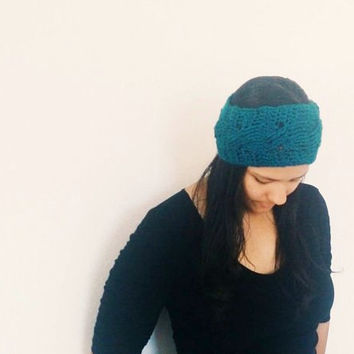 Crochet ear warmer, Women's winter hat in turquoise blue - All through the cables - cabled headband -