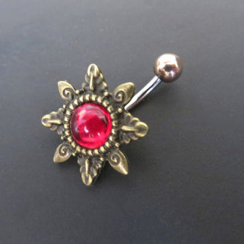 Crimson Red Gemstone Starburst Belly Button Ring Navel Piercing Bronze Sunburst Sun Stud Bar Barbell Star Burst Ruby Gem Stone