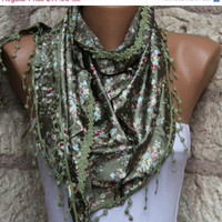 Women Shawl  Scarf -  Cowl with Lace - Dark olive green