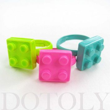 Adjustable Lego Brick Ring in Bright Bubblegum Pink