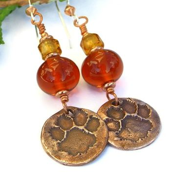 Dog Paw Print Earrings Handmade Lampwork Rescue Jewelry Amber Copper