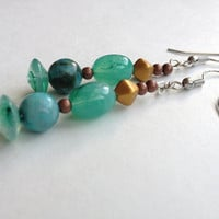 Blue and Copper Beaded Earrings