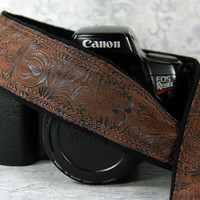 Western Camera Strap, Faux Leather, Brown Floral, Men or Women, SLR, 197 w