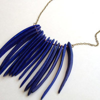 Long Vintage Blue Spiked Bead Statement Necklace