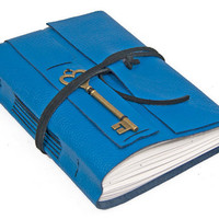 Blue Leather Journal Heart Key Charm Bookmark