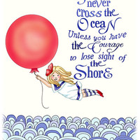 Nautical Nursery Art, Red balloon girl Archival art print 11x14 ocean decor
