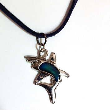 Mood changing silver shark necklace, unisex necklace, shark pendant, shark necklace, sharknado, nautical necklace, BeadingByJenn, ocean life