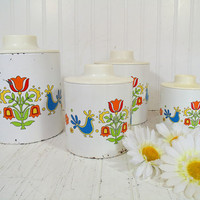 Retro Ransburg Round BoHo Hip Metal Nesting Canisters Set - Vintage 8 Matching ToleWare on White Enamel Cans & Lids - Classic Kitchen Decor