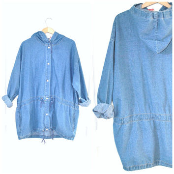 90s GRUNGE denim PARKA / vintage 1990s light wash chambray DENIM cinch waist windbreaker long jacket