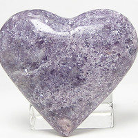 Purple Lepidolite Mica Stone Pillow Heart Cabochon Puff Heart Loose Unset Jewel from the Stewart mine California