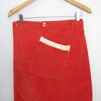 Vintage 60s Terry Cloth Kilt Bath Shower Pocket Wrap Towel
