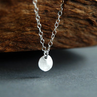 Hokuli'ili'i necklace - a tiny hammered silver disc on a sterling silver chain, simple modern everyday necklace, maui, hawaii