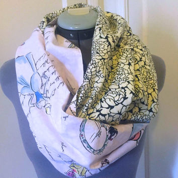 Disney Princess Dusty Pink Fashion Infinity Scarf, Snow White, Beauty & the Beast,Belle,Cinderella,Circle Scarf, Women Girls Accessory, Gift