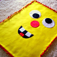 Fleece No Sew Blanket Kids Bright Yellow and Red Funny Goofy Silly Smiley Face