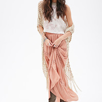 FOREVER 21 Crochet-Paneled Maxi Skirt Blush