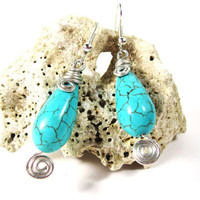 Turquoise And Silver Dangle Earrings, Summer, Seaside, Gift, For Her