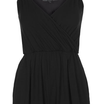 PETITE Jersey Wrap Playsuit - Black