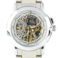 Orkina Mens White Skeleton Dial Mechanical Stainless Steel Strap Wrist Watch MG015SS