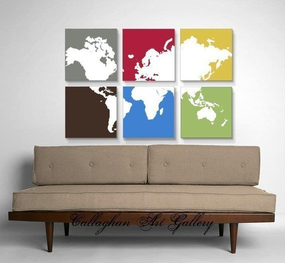 Primary World Map Collection of 6 by CallaghanArtGallery on Etsy