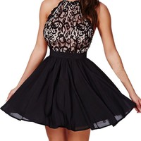 Sexy Women's Black Floral Lace Open Back with Cross Straps Party Skater Dress (S, Black)