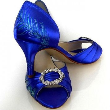 "Vintage style bridal shoes in sapphire, Model ""Milcah"""