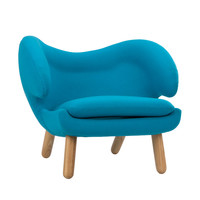 Winged Lounge Chair in Blue