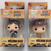 The Walking Dead Daryl Dixon Rick Grimes Funko Pop Pocket Key Chains Collectible