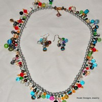 Recycled Left Over Bead-Pearls Necklace And Earring Set