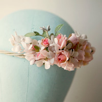 pink flower crown 'FOLKLORE' bridal hair, wedding accessory