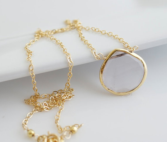 Faceted Bezel Set Clear Quartz Necklace - 14k Gold Filled Chain