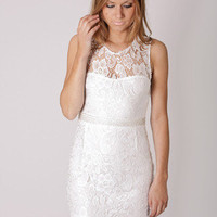 PRE ORDER- sale price- short of time lace cocktail- white arrives august 9th at Esther Boutique