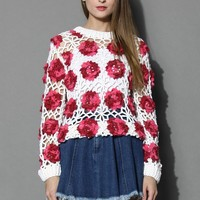 Blossoming Flowers Knitted Sweater Multi S/M