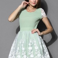 Mint Floral Organza Chiffon Dress Green