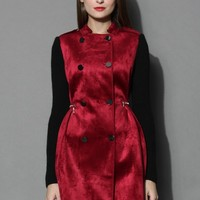 Classy Contrast Double-breasted Suede Coat in Wine Red