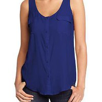 Women's Crepe Sleeveless Shirts | Old Navy