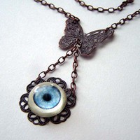 Blue Eye Necklace with Butterfly Filigree Goth Lolita