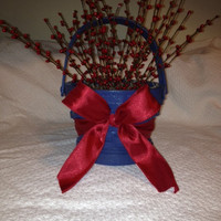 Basket, Painted Blue with Red Berries and Red Bow