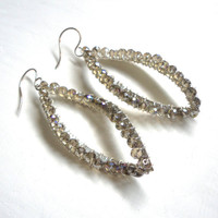 Large Silver Earrings - Sparkly Smokey Grey Crystal Beaded Dangle Earrings