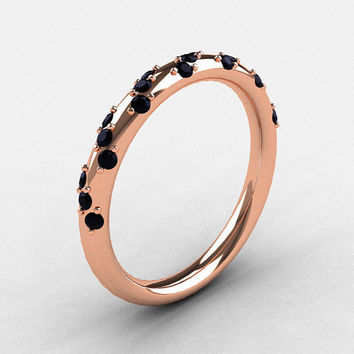 French Bridal 18K Rose Gold Black Diamond Wedding Band R185B-18KRGBD