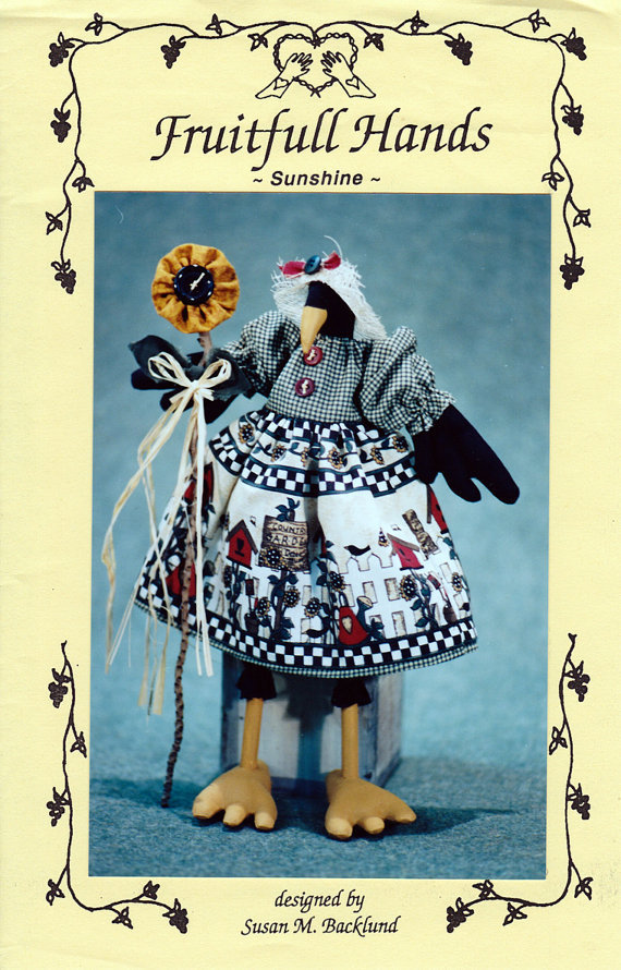 Craft Doll Pattern: Sunshine a Crow with a Sunflower - Susan Backlund