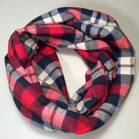 Handmade Infinity Scarf Plaid Flannel, Child, Kid Size, Super Warm Double Layer.  Blue, Red & Cream - Christmas Holiday Gift