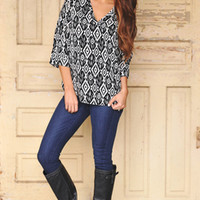 Black Ikat Blouse